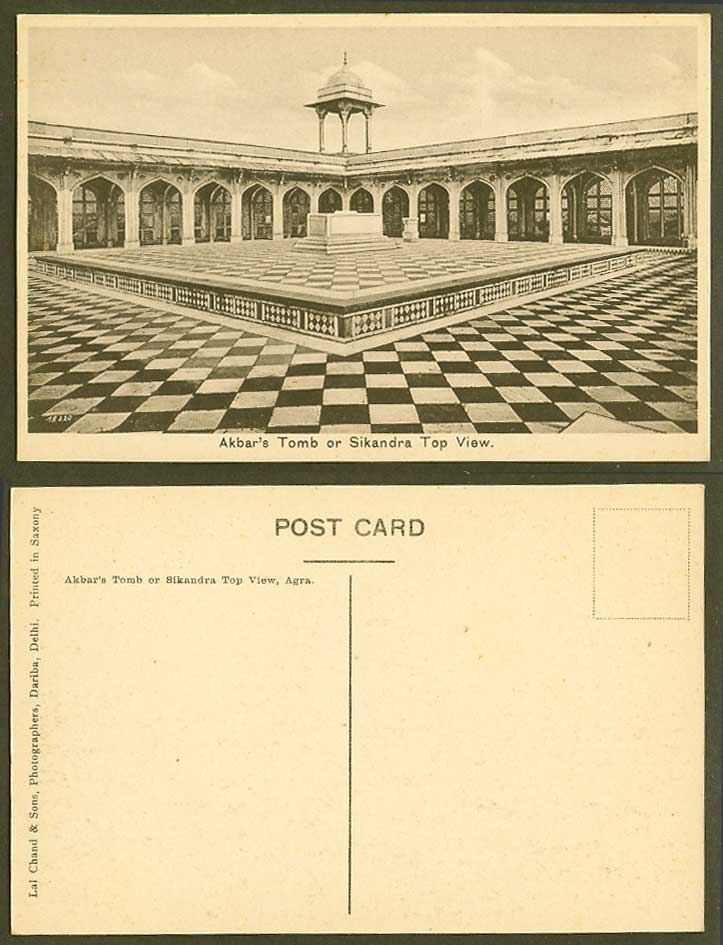 India Old Postcard Akbar Akbar's Tomb or Sikandra Top View Lah Chand & Sons Phot