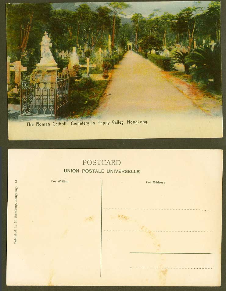Hong Kong Old Colour Postcard Roman Catholic Cemetery in Happy Valley Crosses 57