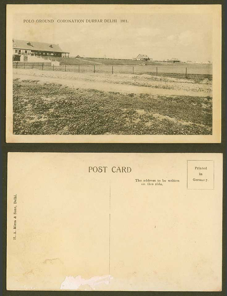 India POLO GROUND 1911 Old Postcard King George V Coronation Durbar Delhi Sports