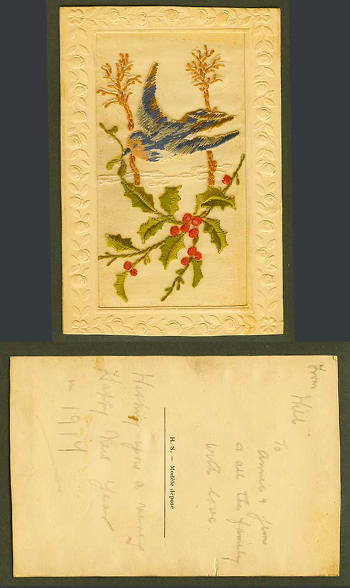 WW1 SILK Embroidered 1917 Old Postcard Flying Bird Carrying Holly Christmas H.S.