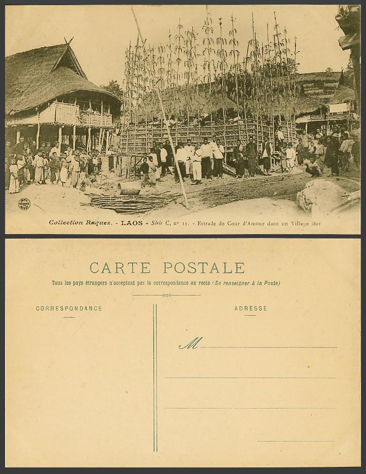Laos Old Postcard Estrade de Cour d'Amour Village Thai Native Men Women Children