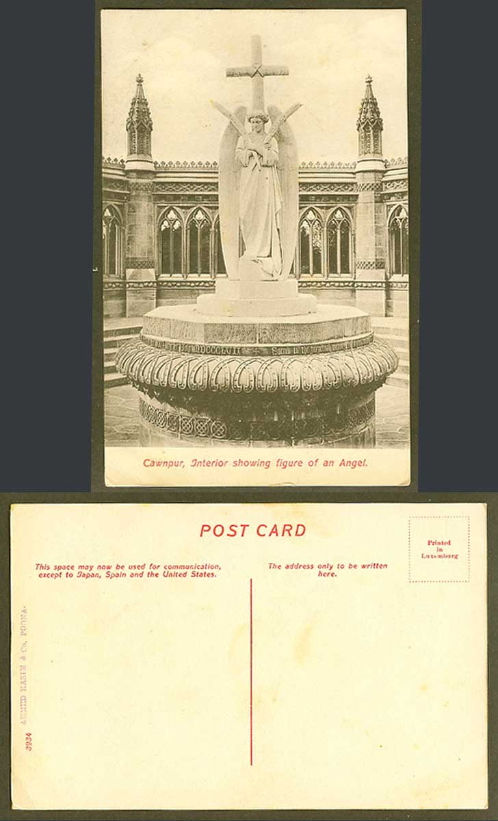 India Old Postcard Memorial Well Interior, Figure of an ANGEL, Cawnpur Cawnpore