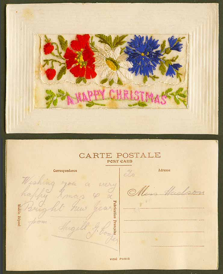 WW1 SILK Embroidered Old Postcard A Happy Christmas Xmas, Flowers & Empty Wallet
