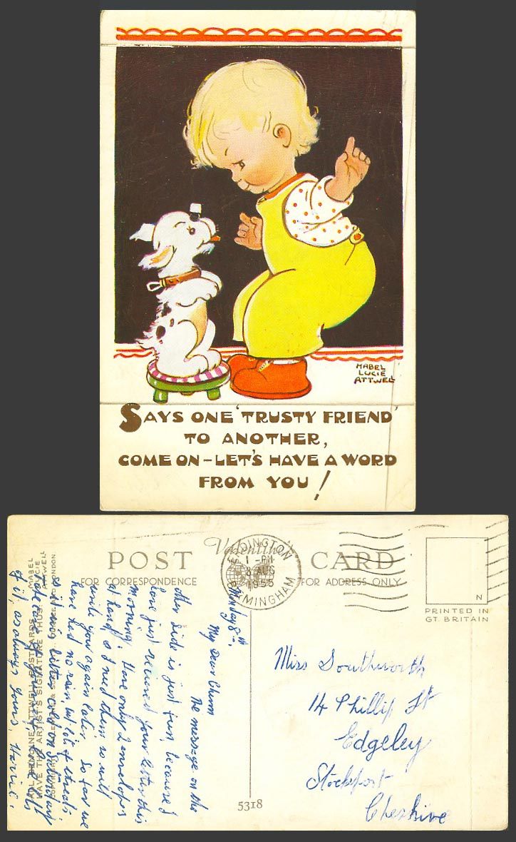 MABEL LUCIE ATTWELL 1955 Old Postcard Says One Trusty Friend, A Word from U 5318