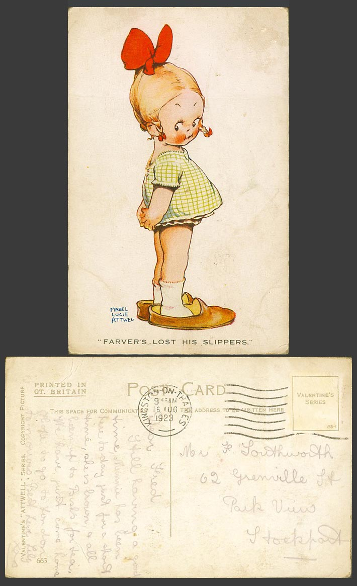 MABEL LUCIE ATTWELL 1923 Old Postcard Girl Father Farver's Lost His Slippers 663