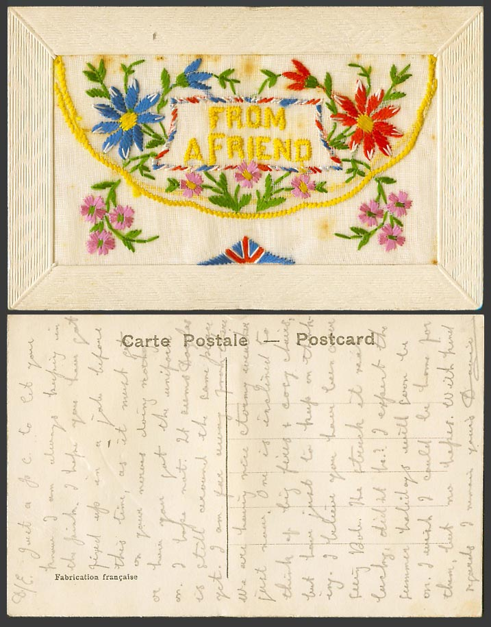 WW1 SILK Embroidered French Old Postcard From A Friend Flowers with Empty Wallet