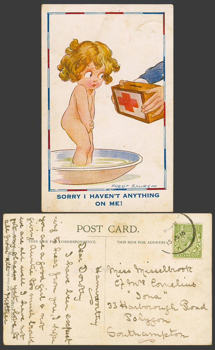Fred Spurgin 1916 Old Postcard Girl Sorry I Haven't Anything on Me Red Cross Box
