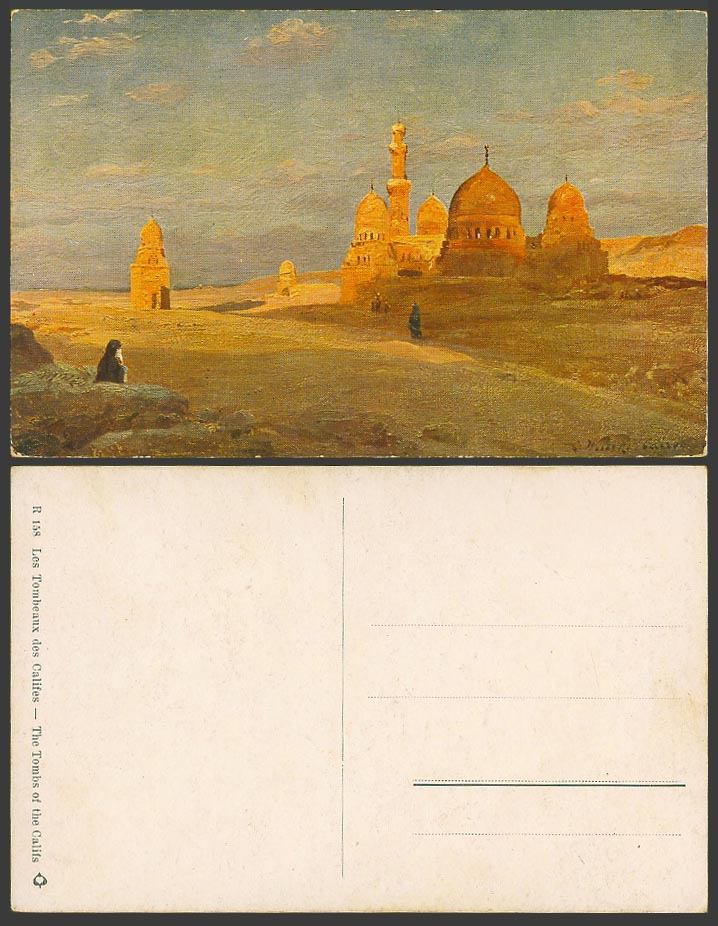 Egypt C. Wuttke Artist Signed Old Postcard Tombs of The Califs, Tombeaux Califes