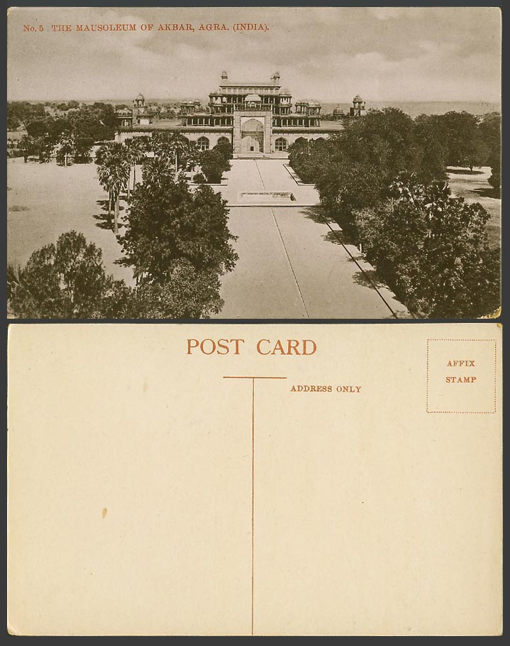 India Old Postcard The Mausoleum of Akbar Akbar's Tomb Secundra Agra Fountain 5.
