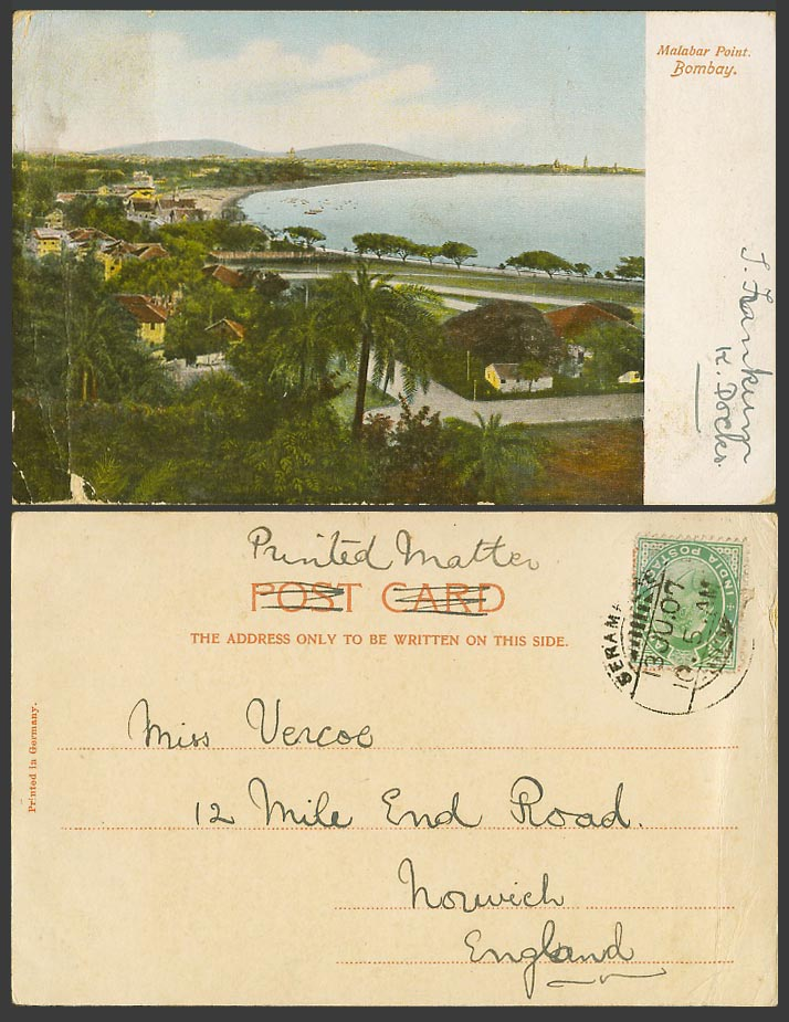 India KE7 1/2a 1907 Old UB Postcard Bombay Malabar Point Beach Seaside Panorama