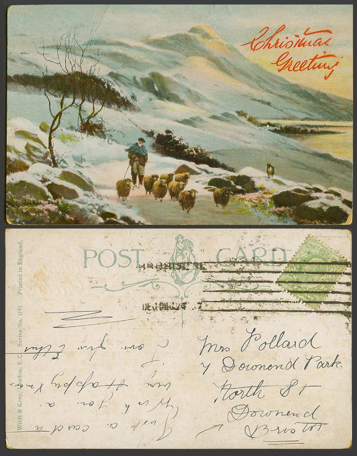 Christmas Greetings, SHEEP & Shepherd Winter Snowy Mountains Old Colour Postcard