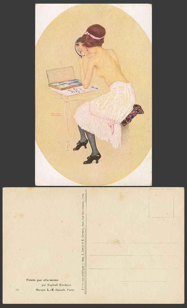 Raphael Kirchner Old Postcard Peinte par elle-meme, Painted Herself, Lipstick 14