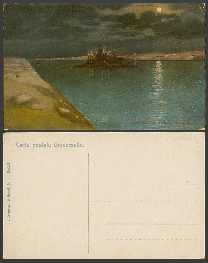 Egypt Old Colour Postcard Canal de Suez Drague, Dredge Night Moonlight Moon Boat