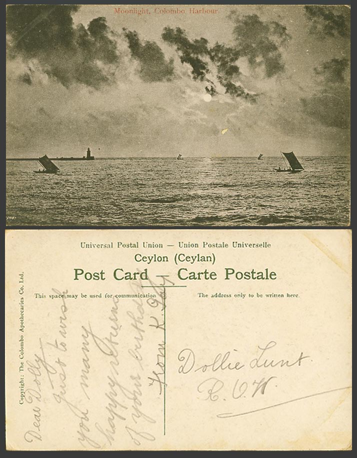 Ceylon Old Postcard Moonlight Colombo Harbour Full Moon Sailing Boats Lighthouse