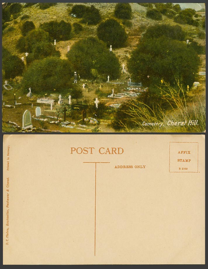 Pakistan Old Colour Postcard Cemetery Cherat Hill, Tombs Graves Tombstones Trees