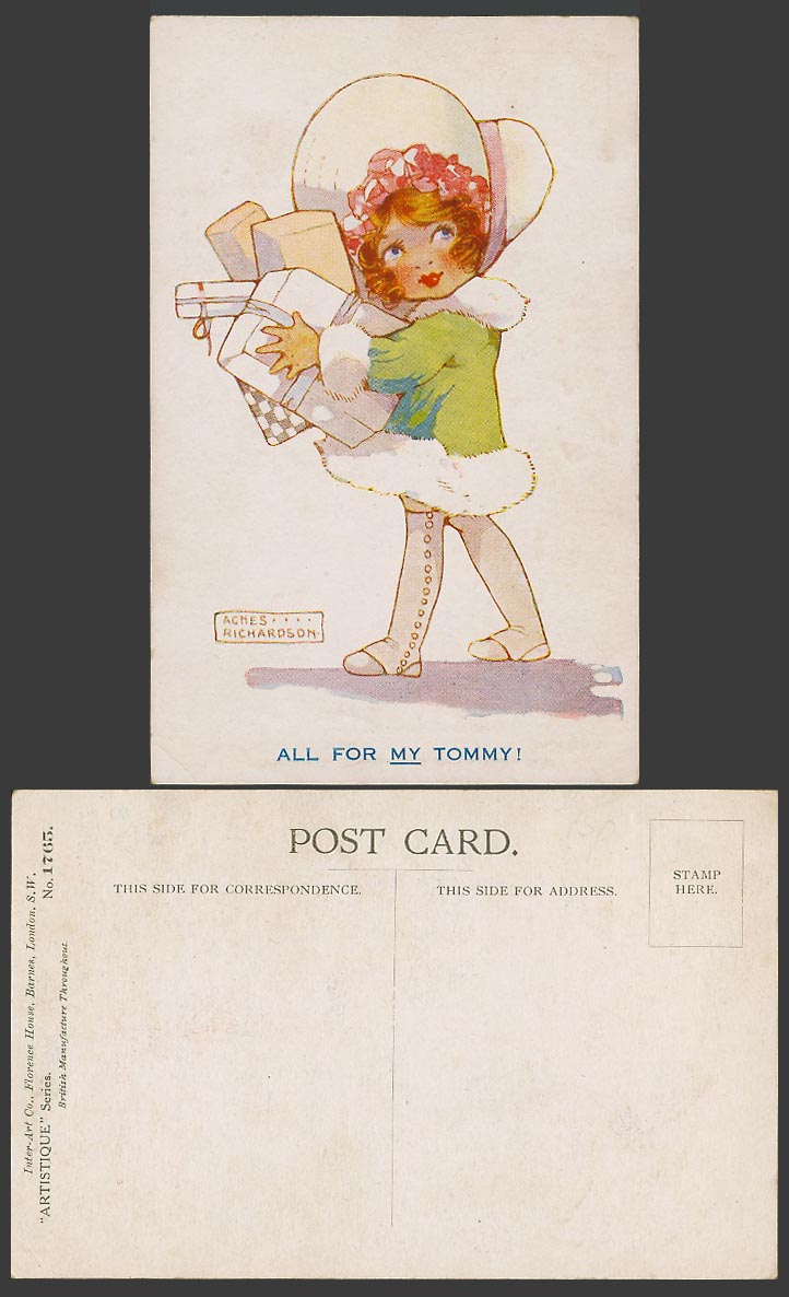 Agnes Richardson Artist Signed Old Postcard All for my Tommy! Girl & Gift Boxes