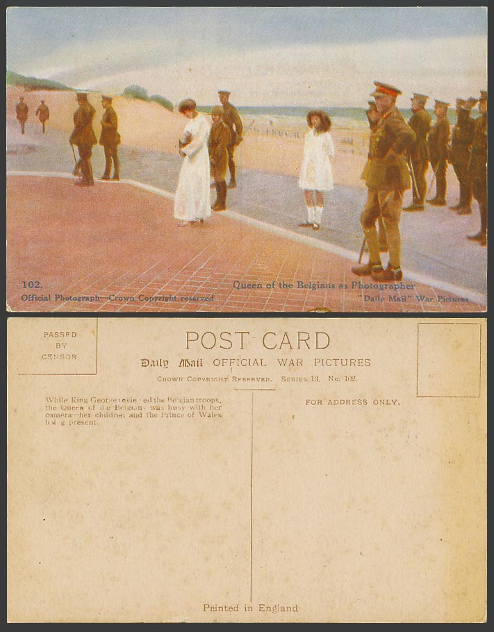 WW1 Daily Mail Old Postcard Queen of Belgians Photographer King George 5. Prince