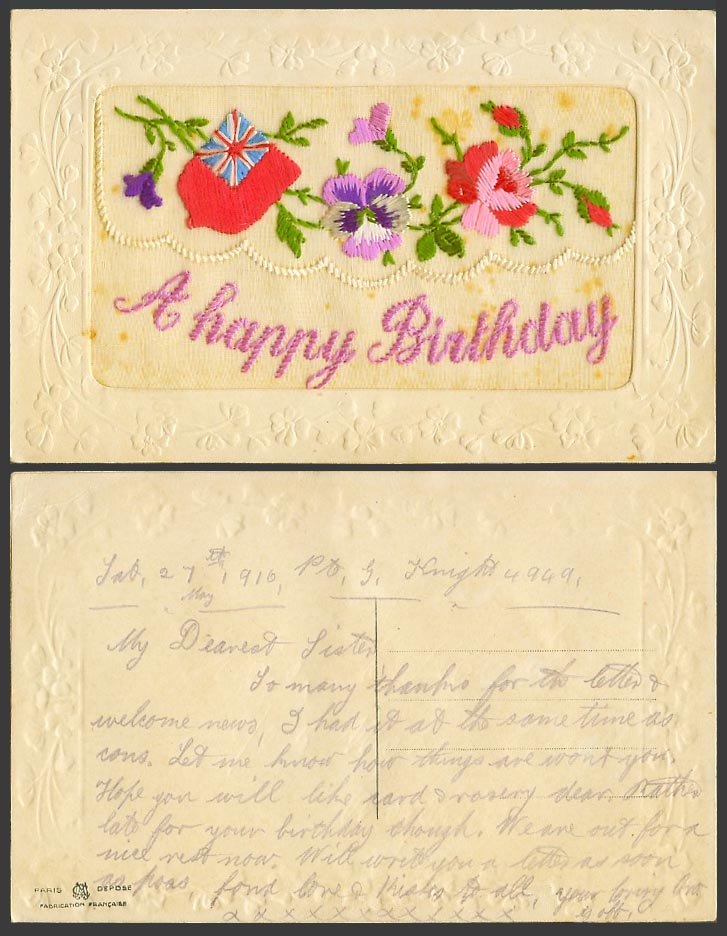 WW1 SILK Embroidered 1916 Old Postcard A Happy Birthday Flower Flag Empty Wallet