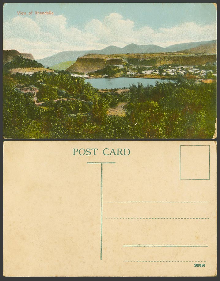 India Old Colour Postcard General View of KHANDALLA Mountain Hills Lake Panorama