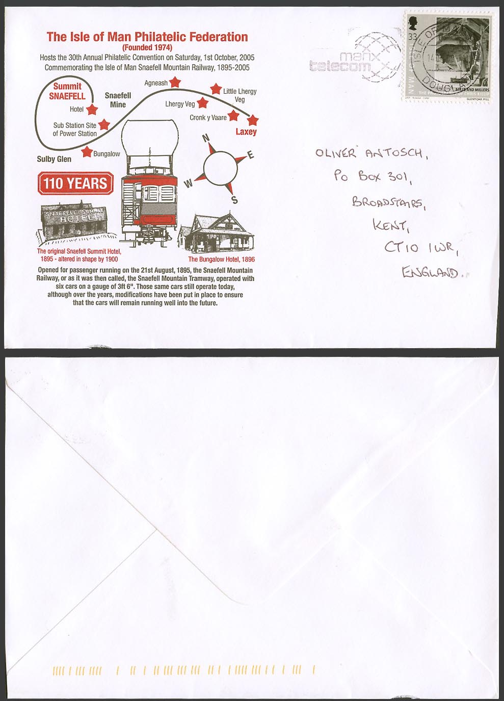 Isle Of Man Philatelic Federation Cover Snaefell Mountain Railway & Summit Hotel