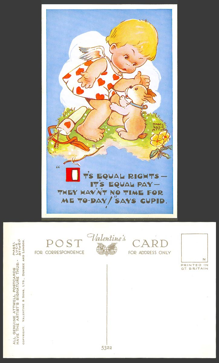 MABEL LUCIE ATTWELL Old Postcard Its Equal Rights Pay No Time For Cupid Dog 5322