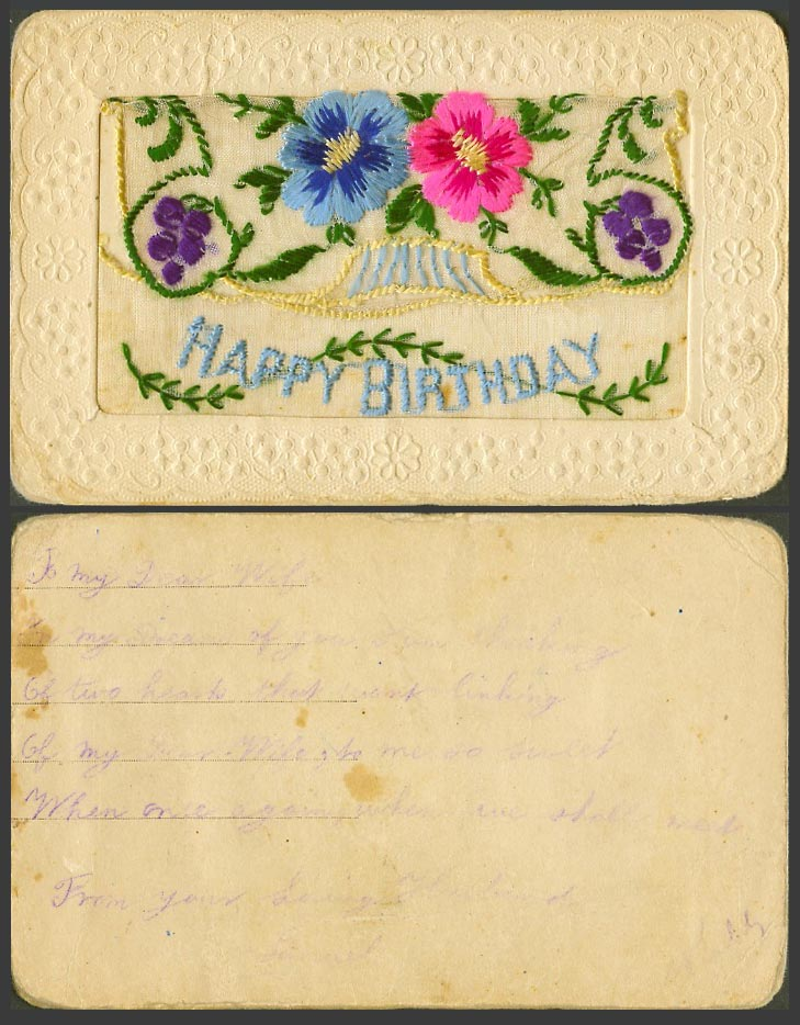 WW1 SILK Embroidered Old Postcard Happy Birthday, Flowers, Empty Wallet, Novelty