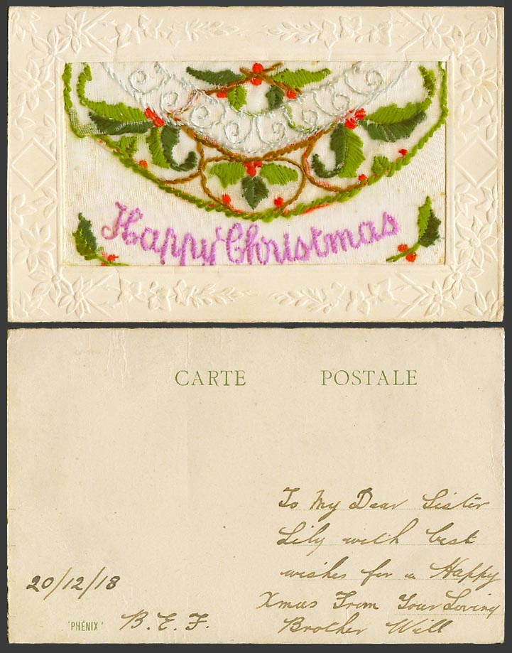 WW1 SILK Embroidered 1918 Old Postcard Happy Christmas Holly Empty Wallet Phenix