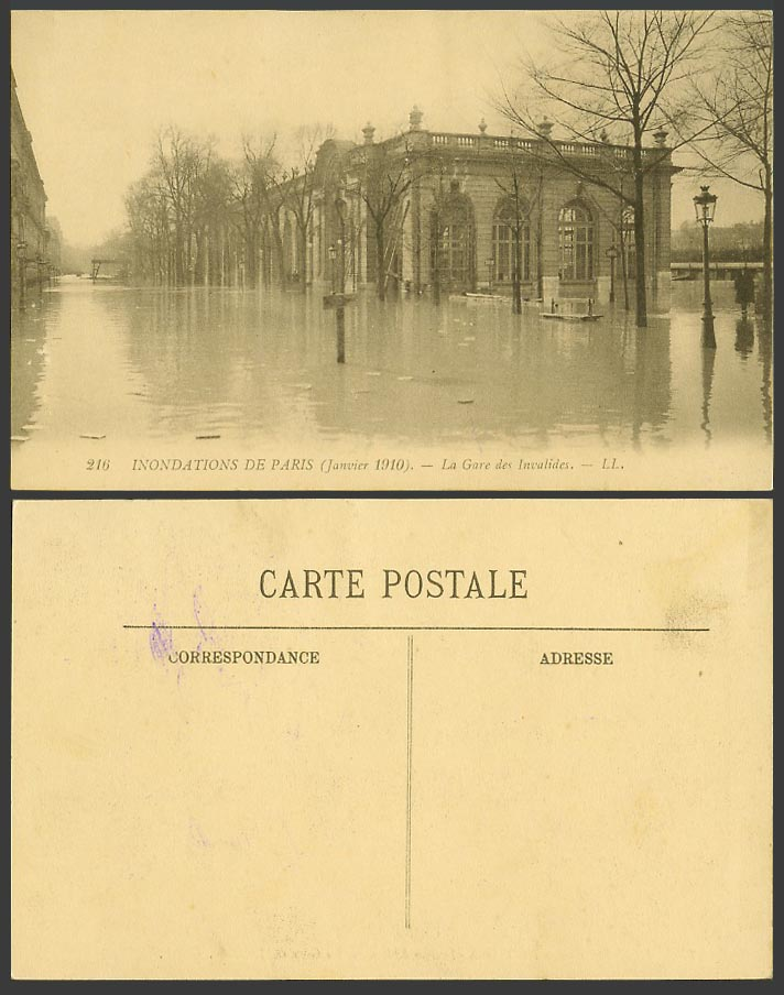 PARIS FLOOD Disaster 1910 Old Postcard Gare des Invalides Railway Station LL 216