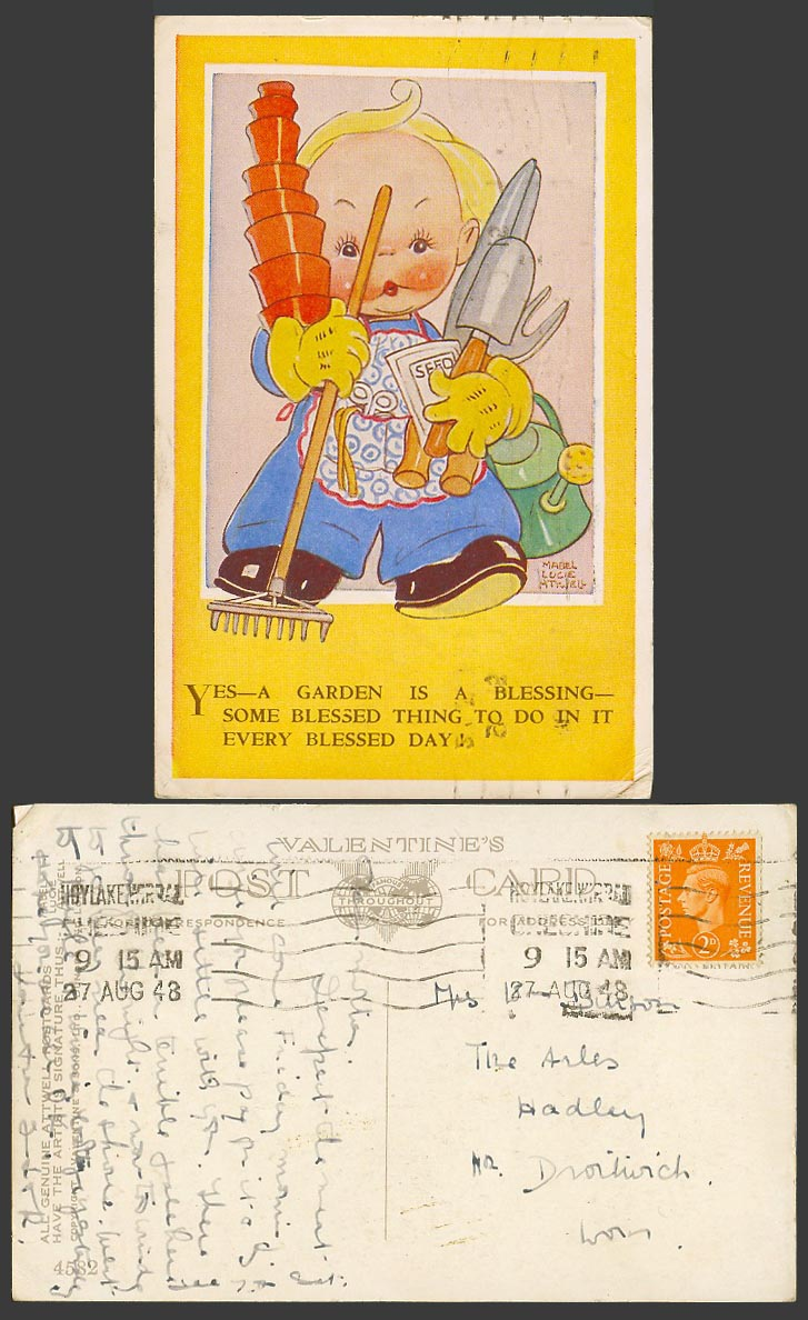 MABEL LUCIE ATTWELL 1948 Old Postcard Garden, a Blessing Gardener Seed Pots 4582