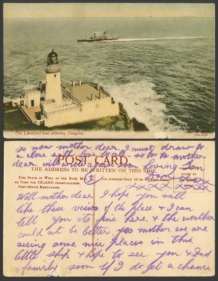 Isle of Man Old Postcard Steamer Liverpool Boat entering Douglas Head Lighthouse
