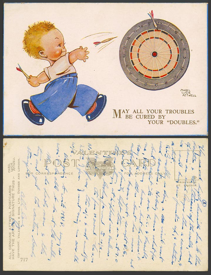 MABEL LUCIE ATTWELL Old Postcard Darts. May Your Trouble be Cured by Doubles 717