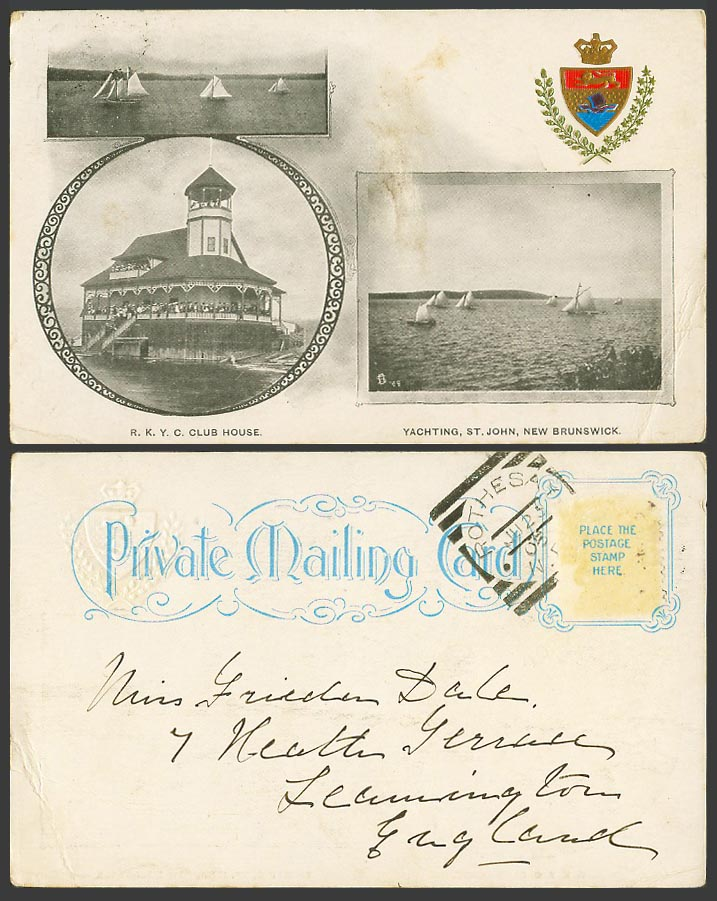 Canada 1905 Old UB Postcard RKYC Club House, Yachting St. John N.B. Coat of Arms