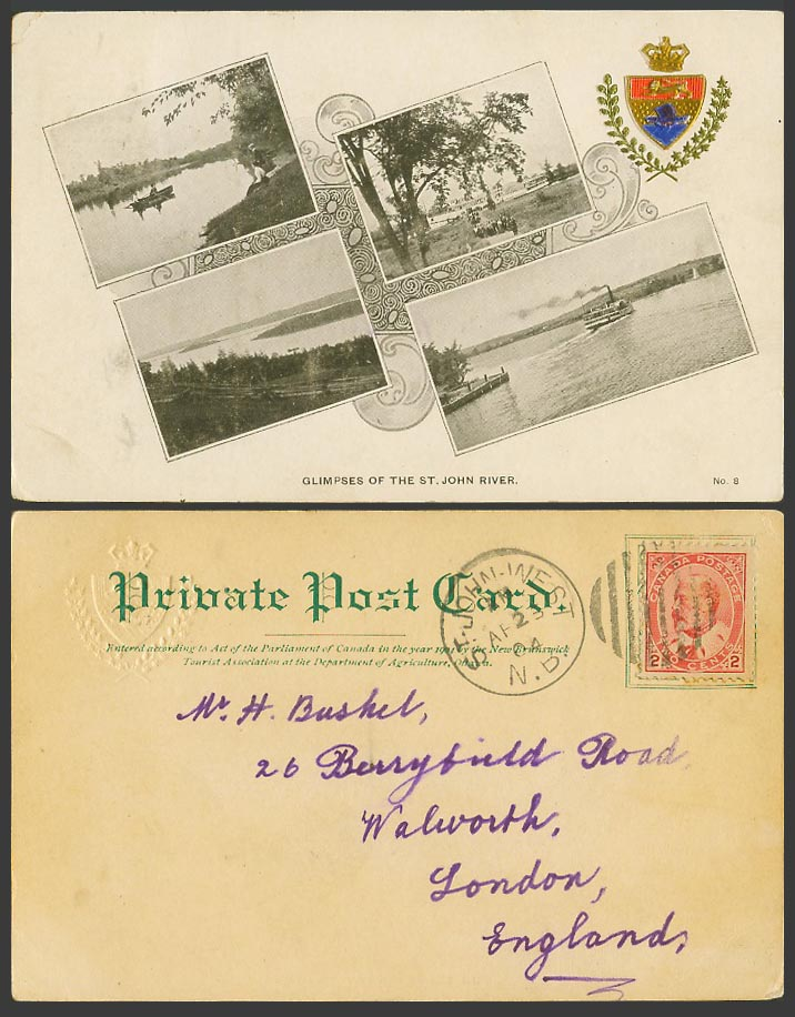 Canada KE7 2c 1904 Old UB Postcard St John River Boat N.B. Embossed Coat of Arms