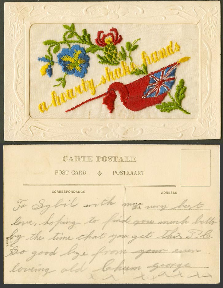 WW1 SILK Embroidered French Old Postcard A Hearty Shake Hands, Flag and Flowers
