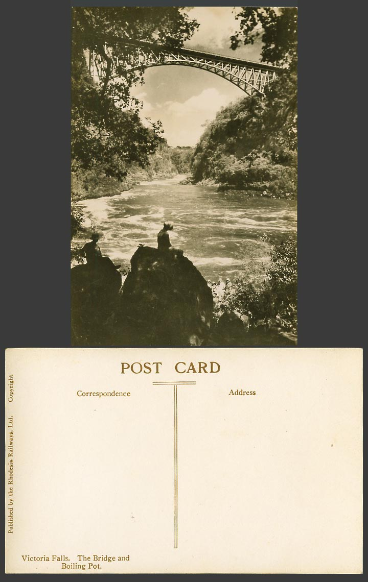 Rhodesia Old Real Photo Postcard Victoria Falls Bridge and Boiling Pot Man Woman