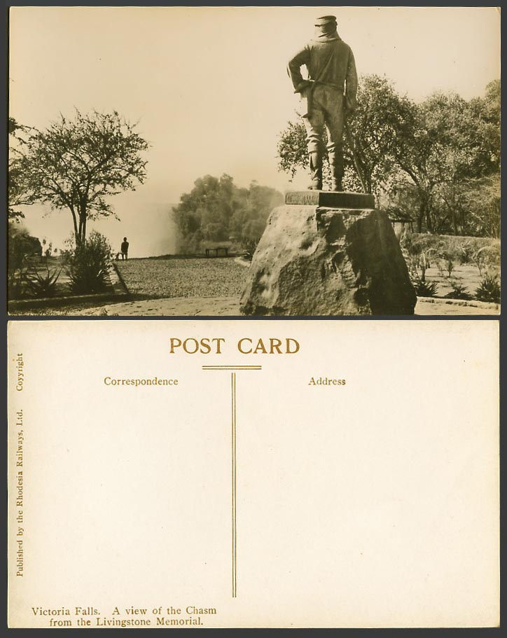 Rhodesia Old Real Photo Postcard Victoria Falls, Chasm from Livingstone Memorial