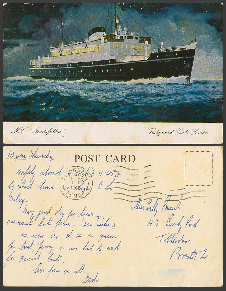 M.V. Innisfallen Fishguard Cork Service 1965 Old Postcard Ferry Steam Ship Liner