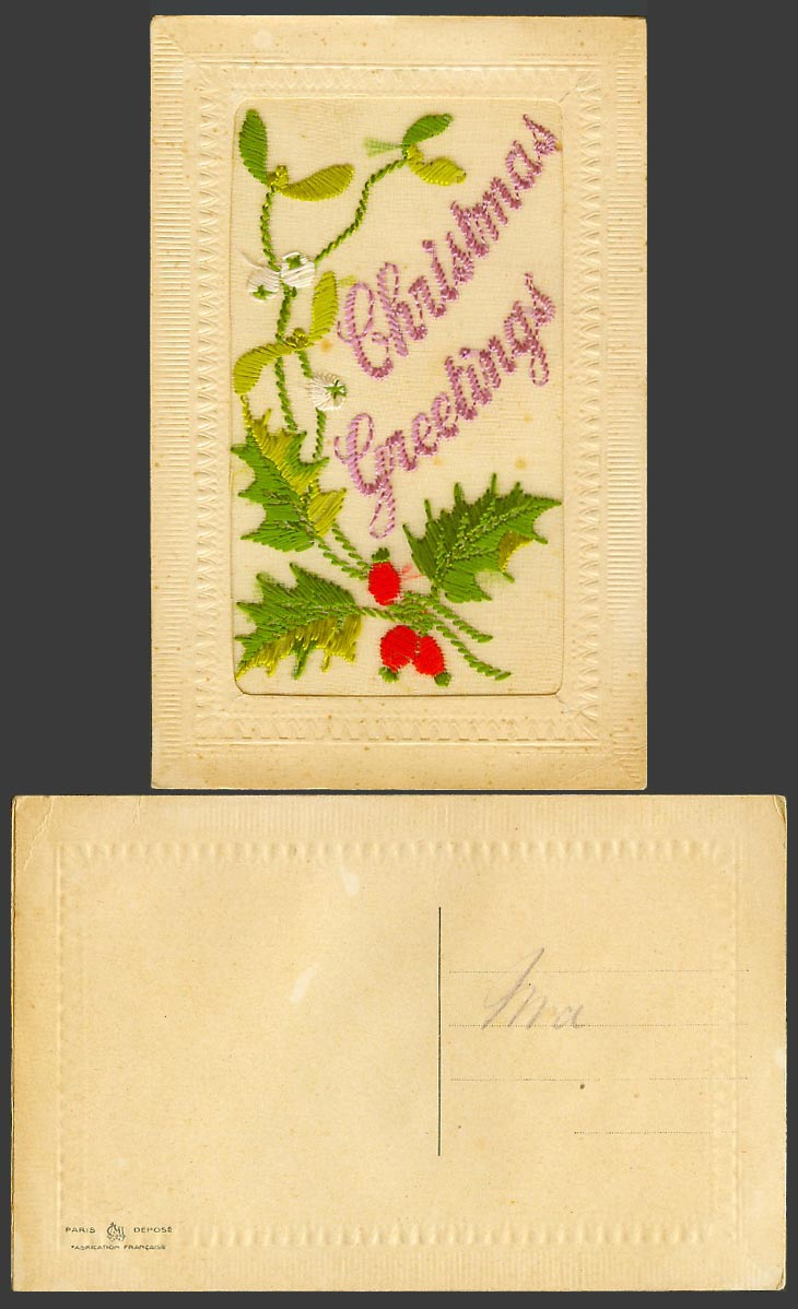 WW1 SILK Embroidered Old Postcard Christmas Greetings, Holly & Mistletoe Novelty