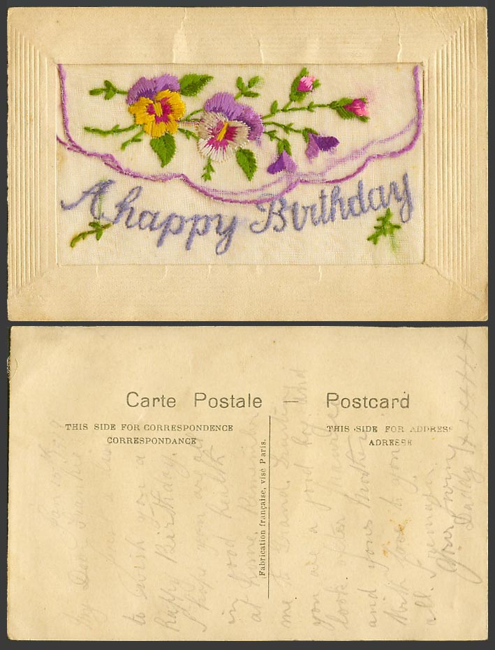 WW1 SILK Embroidered Old Postcard A Happy Birthday, Pansy Flowers, Empty Wallet