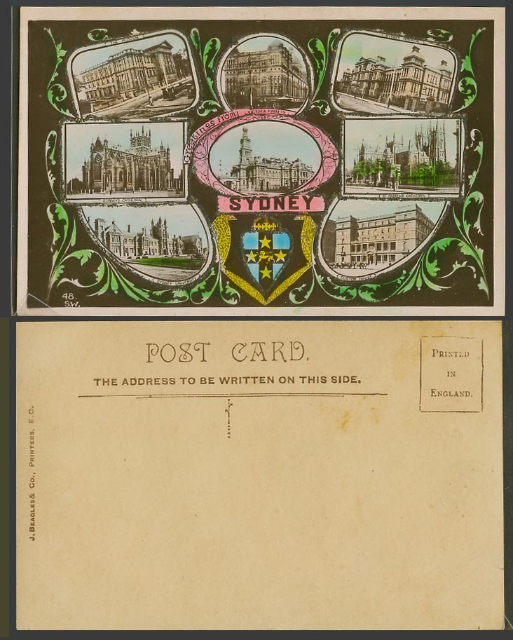 Australia, Sydney University Museum Hospital Custom House, Glitters Old Postcard