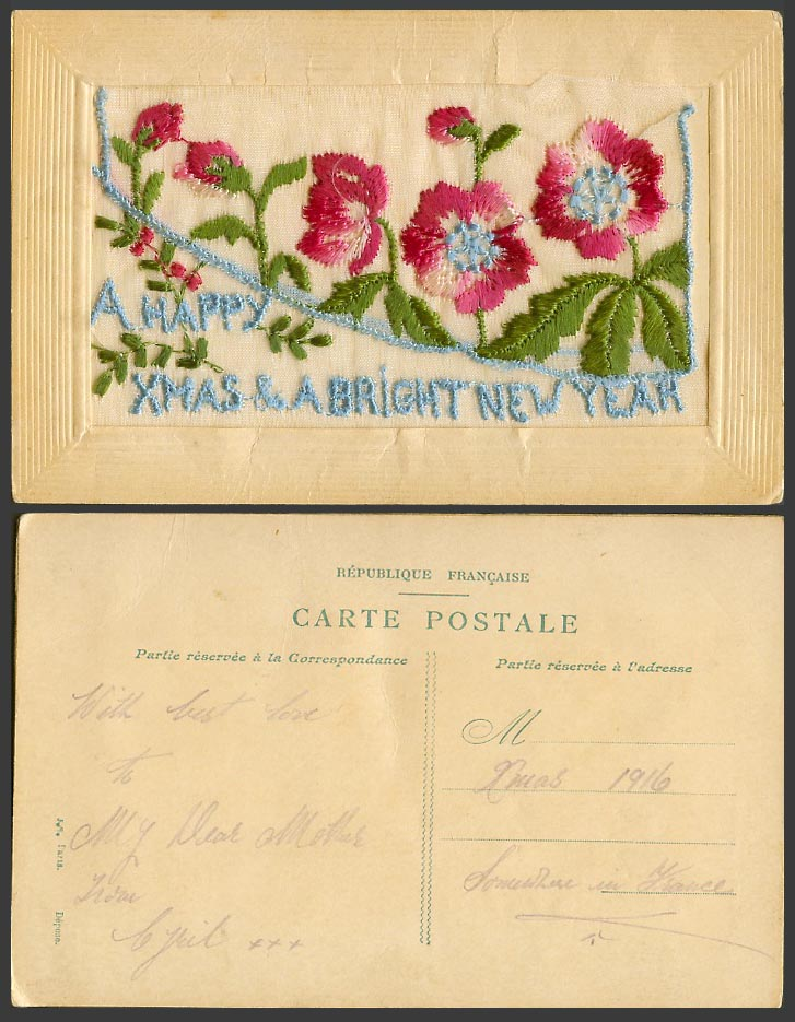 WW1 SILK Embroidered Old Postcard A Happy Xmas & a Bright New Year, Empty Wallet