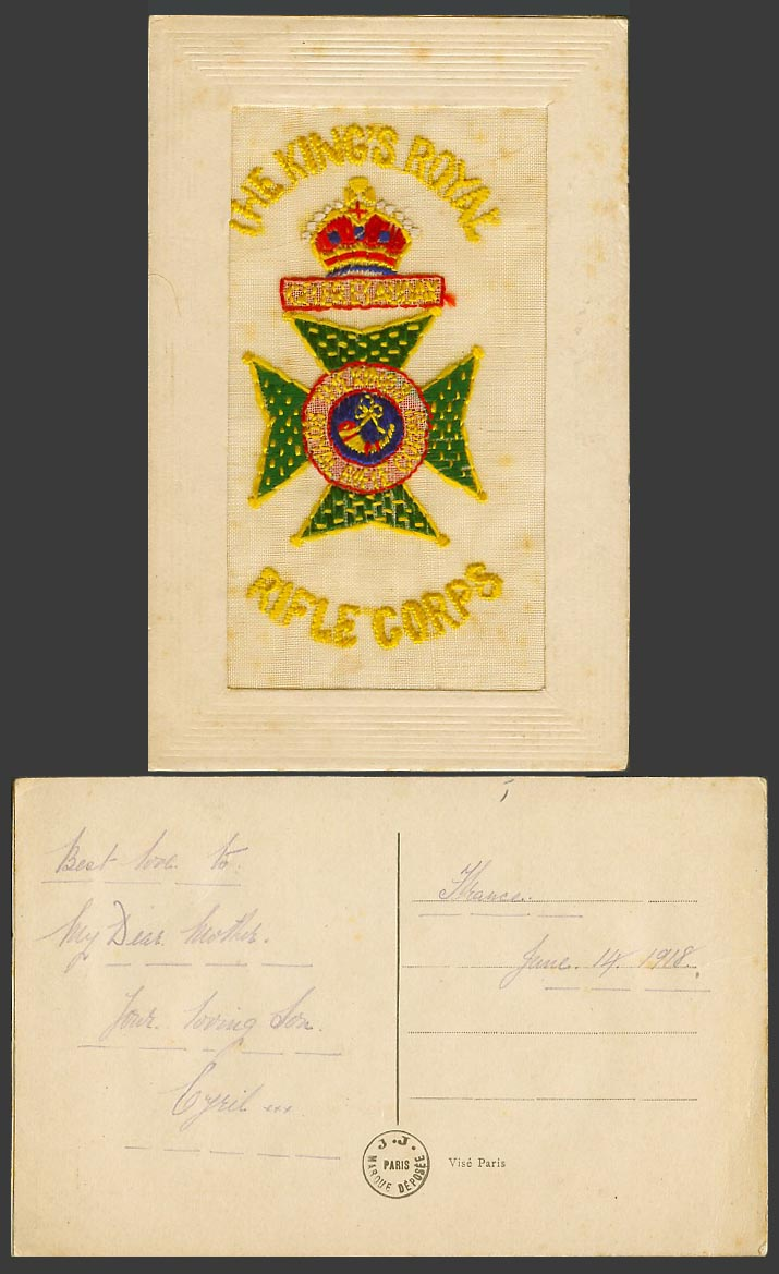 WW1 SILK Embroidered 1918 Old Postcard The King's Royal Rifle Corps Coat of Arms