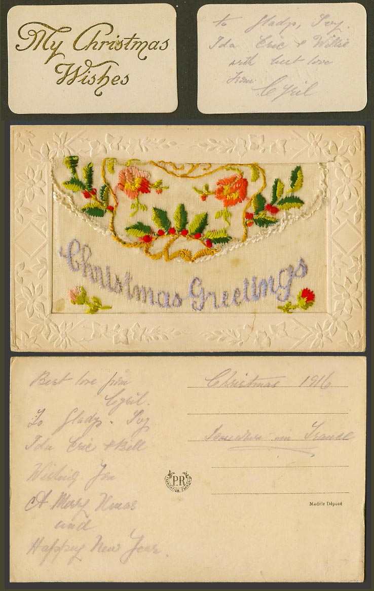 WW1 SILK Embroidered 1916 Old Postcard Christmas Greetings My Xmas Wishes Wallet