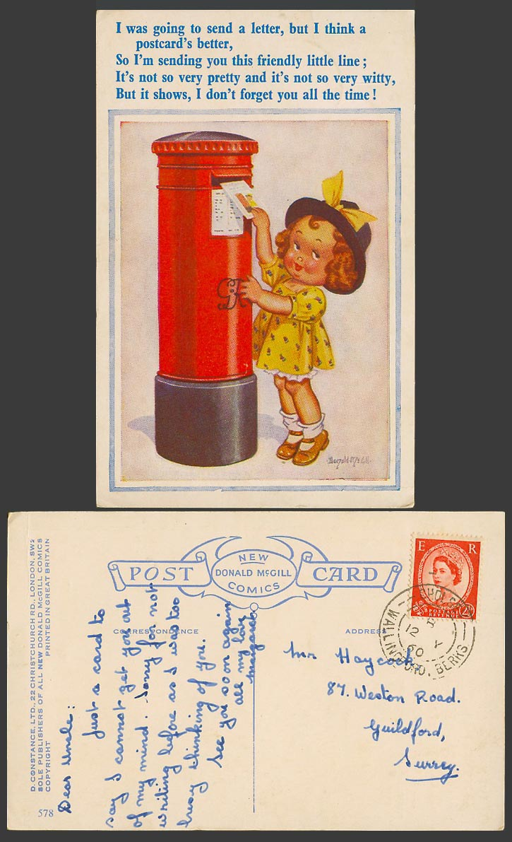 Donald McGill 1960 Old Postcard Girl Going to Send Letter Royal Mail POSTBOX 578