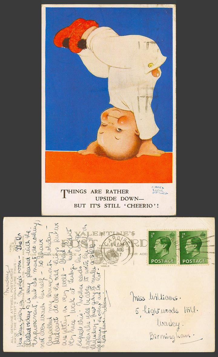 MABEL LUCIE ATTWELL 1937 Old Postcard Things Are Upside Down Still Cheerio! 3694