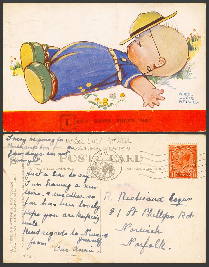 Mabel Lucie Attwell 1934 Old Postcard Lazy Bones That's Me Sleeping Flowers 2643
