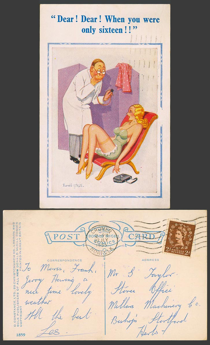 Donald McGill 1955 Old Postcard Saucy Doctor D! Dear! When You Were Only 16 1859