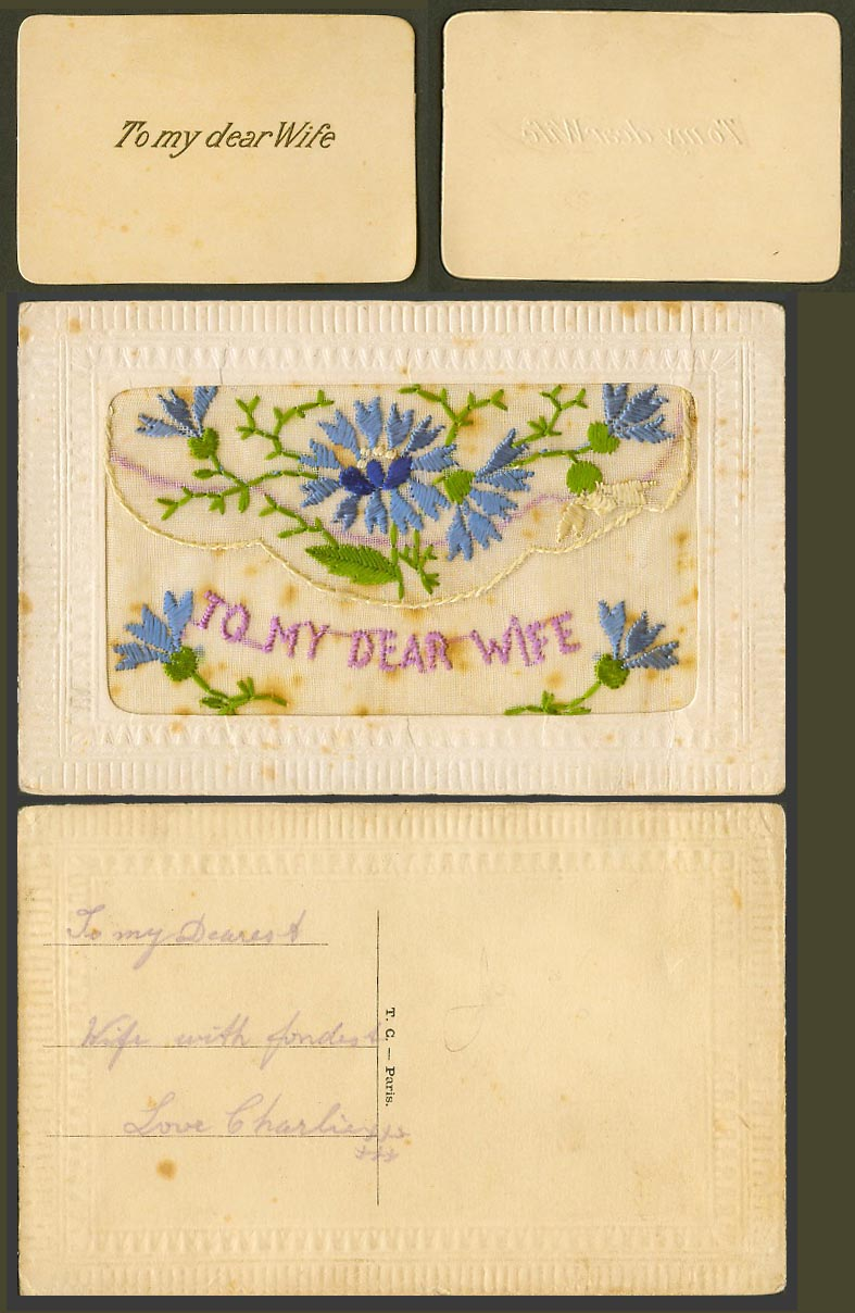 WW1 SILK Embroidered French Old Postcard To My Dear Wife Flowers Wallet TC Paris