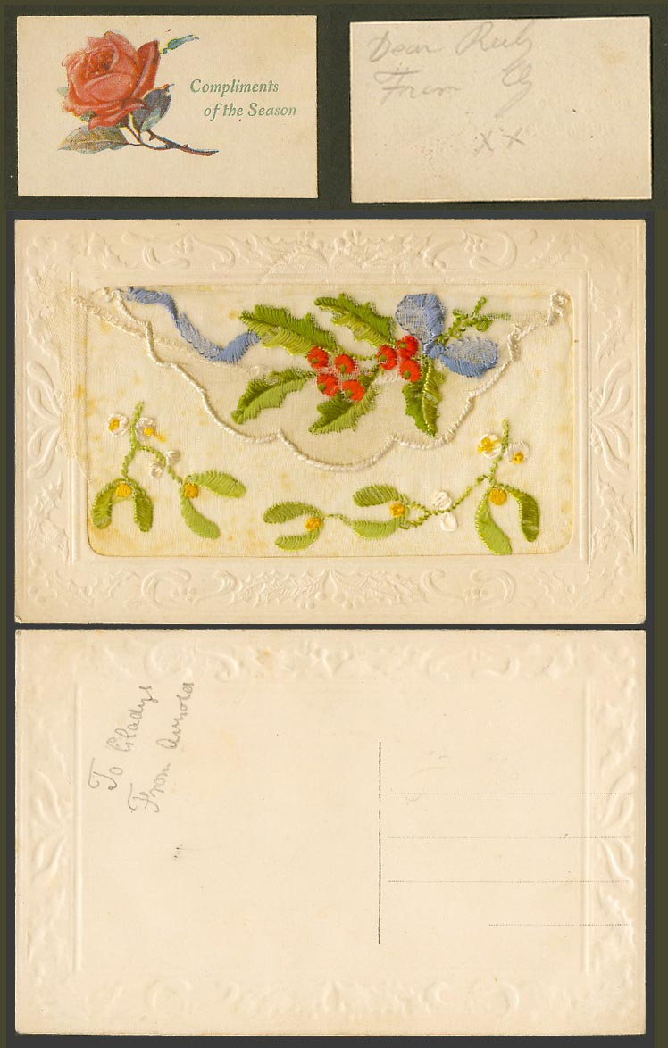 WW1 SILK Embroidered Old Postcard Compliments of Season, Holly Mistletoe, Wallet