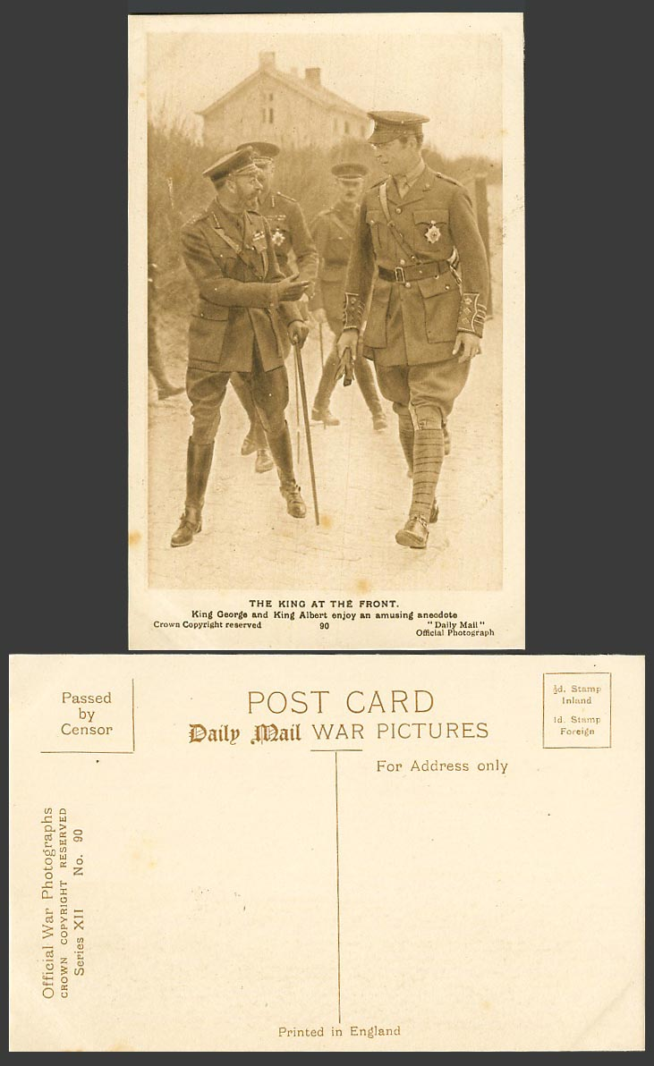 WW1 Daily Mail Old Postcard KING GEORGE & ALBERT at FRONT Enjoy Amusing Anecdote